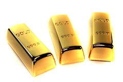 Three gold bars. Three large gold bars on a white background Royalty Free Stock Photo