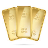 Three gold bars. Royalty Free Stock Photos
