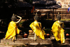 Three Gold Buddha. This is a three Gold Buddha statue in temple at thailand stock photos