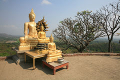 Three gold buddha statues located near the cliff Royalty Free Stock Images