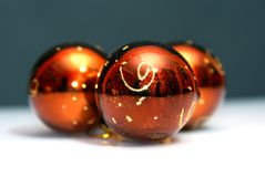 Three gold christmas ball Royalty Free Stock Photos