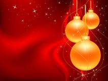 Three_gold_christmas_ball Stock Image