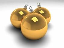 Three Gold Christmas Bulbs Stock Photo