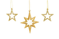 Three gold Christmas stars Royalty Free Stock Images