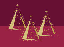 Three Gold Christmas Trees on Red. Three Gold Christmas Trees with gold stars on a Red background Stock Photography