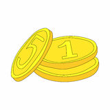 Three gold coins icon in cartoon style Stock Image