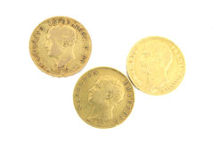 Three gold coins with Napoleon. Three gold ancient coins with Napoleon (2 French and one Italian Royalty Free Stock Image