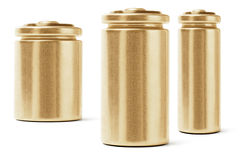 Three Gold Color Batteries. On White Background Royalty Free Stock Image
