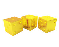 Three gold dices Stock Photography