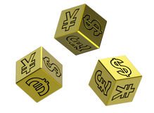 Three gold dices with money signs. Gold dices isolated on white. Computer generated 3D photo rendering Royalty Free Stock Photography
