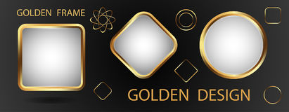 Three gold frames with a white background and golden elements fo Stock Photography