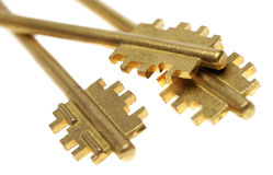 Three gold keys Stock Photography