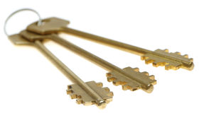 Three gold keys. Selective focus Stock Photography