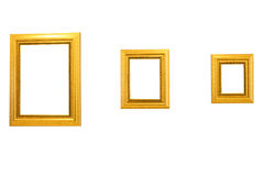 Three gold picture frames Royalty Free Stock Photos