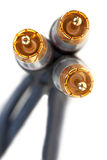 Three gold plugs close-up Royalty Free Stock Photos
