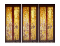 Three gold and red doors Stock Photography