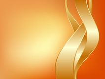Three gold ribbons. On light background Royalty Free Stock Image