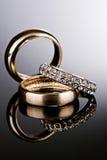 Three Gold Rings. Royalty Free Stock Photos