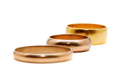 Three gold rings Stock Image