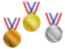 Three gold, silver and bronze medals with ribbon. Three gold, silver and bronze award medals with ribbons in fabric texture vector illustration