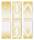 Three Gold sparkles on white backround, banners.. Gold sparkles on white backround, banners. Gold banner Stock Photography