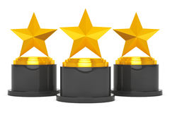 Three Gold Star Awards. 3d Rendering Stock Photo
