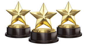 Three Gold stars trophy award  on white Stock Images