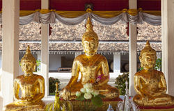 Three golden Buddhas. Stock Image