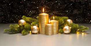 Three golden Candles Royalty Free Stock Image