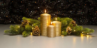 Three golden Candles Royalty Free Stock Photos
