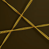 Three golden chains. Visualization of three crossing golden chains royalty free illustration