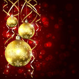Three golden Christmas balls Royalty Free Stock Photography