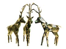Three Golden Christmas reindeers stock photos