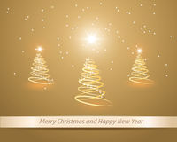 Three golden christmas tree. Stylized Christmas card Royalty Free Stock Images