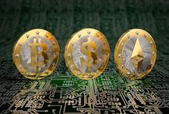 Three golden coins - Bitcoin, Dollar and Ethereum Royalty Free Stock Images