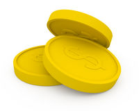 Three golden coins in cartoon style Royalty Free Stock Photo