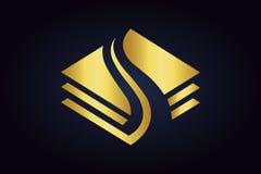 Three golden creative abstract shapes on dark background. stock illustration
