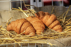 Three golden croissants. On a weathered breadboard with a sacking background Royalty Free Stock Photo