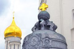 Three golden crosses. Moscow Kremlin. UNESCO World Heritage Site. Stock Photos