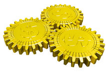 Three golden dollar gears Royalty Free Stock Photos