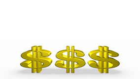 Three Golden Dollar Signs Stock Photography