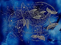 Three golden dolphins on blue background with geometric lines. Esoteric, occult, new age and wicca concept, fantasy pattern with mystic symbols and sacred vector illustration