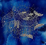 Three golden dolphins and round circle pattern on blue background. Esoteric, occult, new age and wicca concept, fantasy pattern with mystic symbols and sacred stock illustration