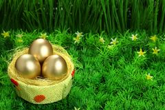 Three golden easter eggs Stock Photos