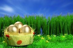 Three golden easter eggs Stock Photo