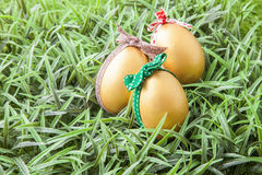 Three golden easter eggs Royalty Free Stock Images
