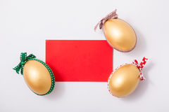 Three golden easter eggs Stock Photography