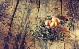 Three golden easter eggs Stock Image