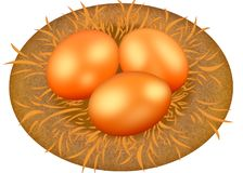 Three Golden eggs in the nest. Golden egg.  Royalty Free Stock Image
