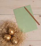 Three golden eggs in the nest and empty green card Stock Photo